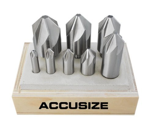 (Accusize Industrial Tools 8 Pc H.S.S. Machine Countersink Set, 82 Degree, 6 Flute, Precision Ground, 0206-1018)