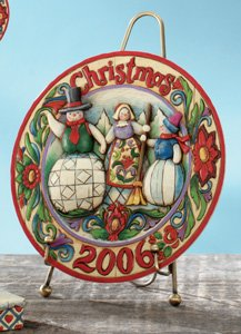 Heartwood Creek Snowman Family Dated Plate - Family Snowman Plate