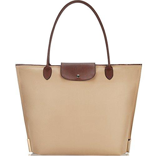 Laptop Bag for Women,15-15.6 inch Lightweight Water Resistan Nylon Laptop Tote Bag for Work/School/Shopping/Travel/Date(Khaki)