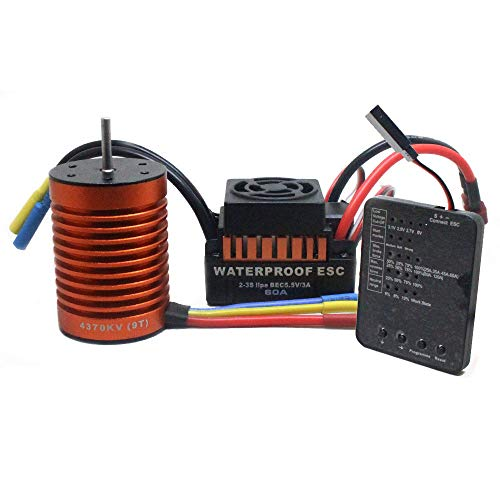 9T 4370KV 1/10 RC Brushless Motor + 60A ESC Speed Controller Combo ME720 for 1/10 RC Car (As, 9T 4370KV Program Card+Motor+ESC)