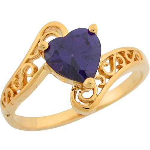 Jewelry Liquidation 14k Real Gold Heart Shaped Simulated Amethyst Filigree Bypass Design Ladies Ring - Gold Amethyst Bypass Ring