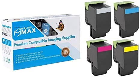 SuppliesMAX Compatible Replacement for Lexmark CX-310//410//510 Toner Cartridge Combo Pack 80C10BCMY BK//C//M//Y NO. 801