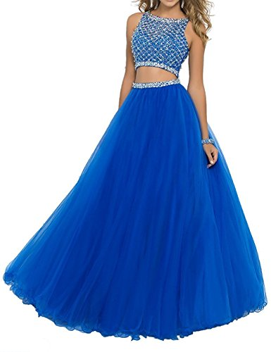 SeasonMall Women's Prom Dress Two Pieces Bateau Beaded Bodice Tulle Dresses Size 4 US Royal Blue by SeasonMall