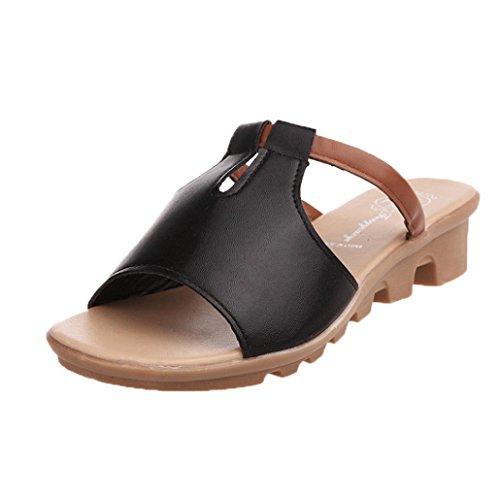 bescita Cut Out Sandalen Fashion Solid Sommerstrand gleitet Hausschuhe Damenschuhe (36, Schwarz)