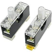 uxcell® 2 Pcs FS-10 DIN Rail Mount Single Pole 6x30mm Fuse Holder AC 250V 10A