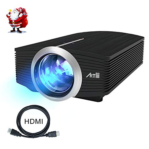 Video Projector, Artlii Portable Movie Projector with 130 Screen, 1080P Support LCD Projector for iPhone Android Laptop PS4 Xbox with USB/HDMI/SD/HiFi Stereo