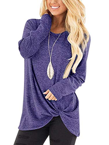 Yidarton Women's Comfy Casual Long Sleeve Side Twist Knotted Tops Blouse Tunic T Shirts(bl,m) Blue