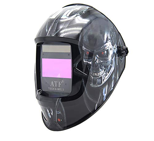 """Yzi AH7-860-0000 Solar Power Auto Darkening Welding Helmet Antfi X60-8 Jumbo Viewing Size 3.78""""X3.5"""" Variable Shade 4/5-9/9-13 with Grinding Feature Extra Lens Cover Good for Arc Tig Mig Plasma,Gray"""