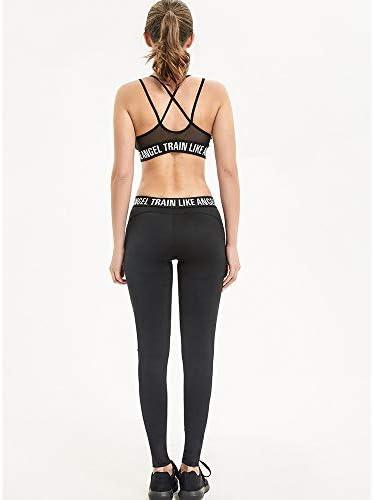 レディースジャージ上下セット 女性のスポーツウェアランニングフィットネスヨガブラレギンスセットジムワークアウト服 (Color : Black, Size : M)
