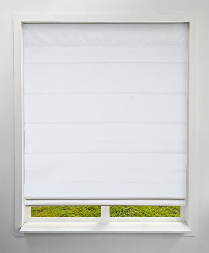 (Arlo Blinds Blackout Thermal Room Darkening Fabric Roman Shades, Color: Cloud White, Size: 35
