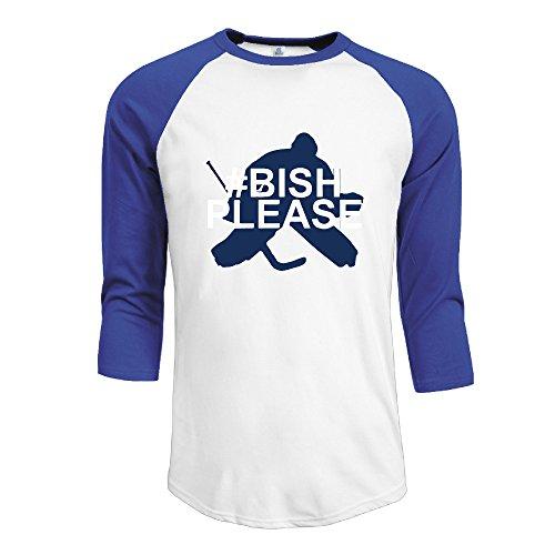 Mens Tb Lightning  30 Ben Bishop 3 4 Sleeve Raglan Baseball T Shirt M Royalblue