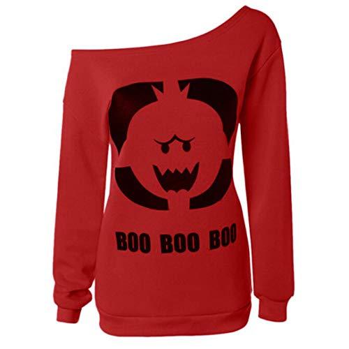 Women's Halloween Autumn Long Sleeve Sweatshirt Pumpkin Face T-Shirt Tops Blouse