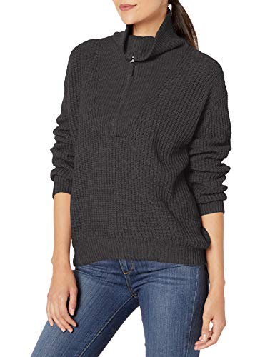 Splendid Women's Cashmere Blend Long Sleeve Pullover Sweater, Heather Charcoal, M