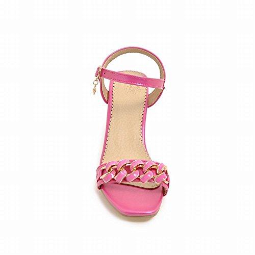 Carolbar Women's Elegant Charm Block Mid Heel Buckle Dress Sandals Rose Red eJi1ut
