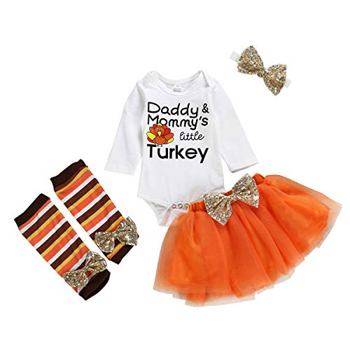 Orange Tutu With Headband - Baby Girls Thanksgiving Outfits Little Turkey