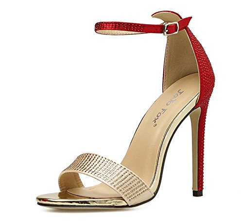 ZPL Womens Ladies Strappy Stiletto High Heel Sandals Ankle Strap Peep Toe Shoes red 4S3atMib