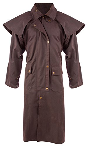 AceRugs Mens Oil Cloth Oilskin Western Australian Waterproof Duster Coat Jacket (Brown, Large) ()