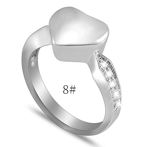 constantlife #6#7#8#9 Engravable Iinfinity Love Heart Eternity Ring Stainless Steel Memorial Finger Ring Cremation Jewelry for Ashes (9015- #8)