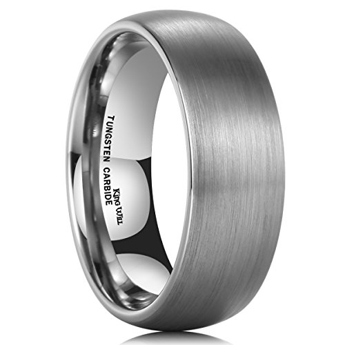 King Will TYRE 8mm Domed Matte Finish Tungsten Carbide Ring Wedding Band Comfort Fit