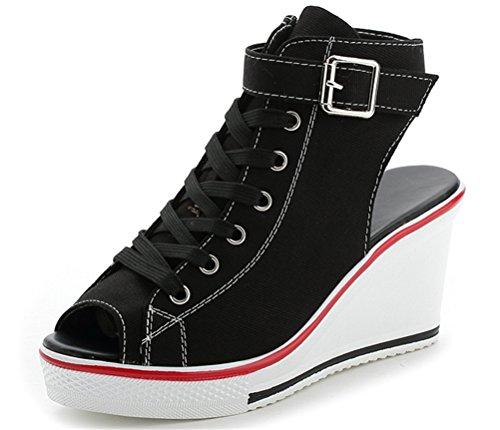 Wedges Sandals Women, Peep-Toe Summer Casual Platform Canvas Sneakers 4 Colors (US 8.5, Black) ()