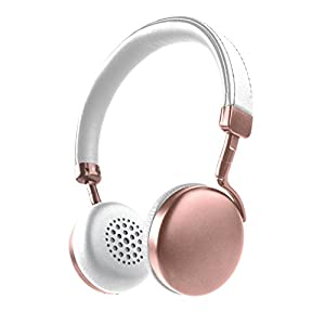 Photive HF1 Rose Gold Bluetooth Headphones. Lightweight Wireless Headphones with Premium Aluminum Finish- Balanced Sound and 12 Hour Battery