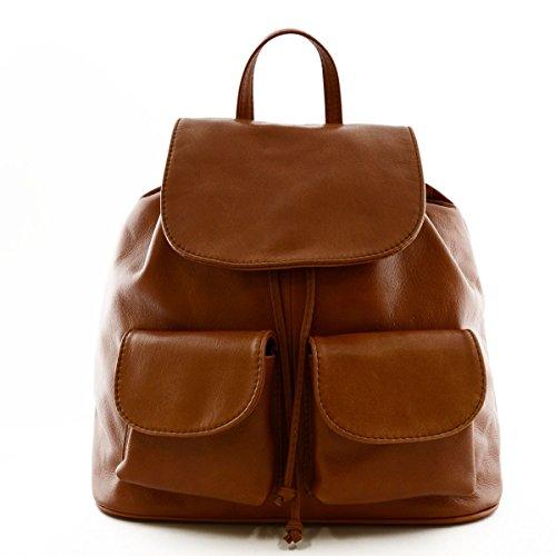 Bolso De Espalda En Piel Para Mujer Modelo Grande Color Cognac - Peleteria Echa En Italia - Bolso Espalda