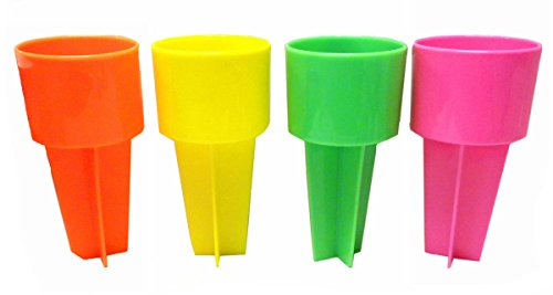 SPIKER Set of Four Beach Beverage Sand Cup Holders - NEW Neon (Four Beverages)
