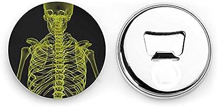 Abrebotellas redondas de esqueleto corporal / Imanes de nevera Sacacorchos de acero inoxidable Etiqueta magnética 2 piezas