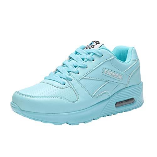 Gym Verano y otoño Calzado Deportes Primavera Zapatillas con Zapatos Libre Cordones Mujer Running para QinMM Azul Aire Plataforma H4wx6q7