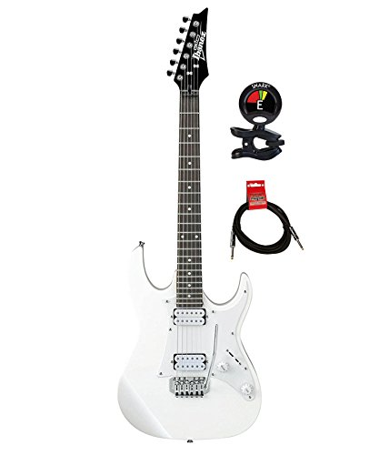 Ibanez GRX20W GIO Series 6 Strings Electric Guitar Package with Guitar Tuner and Instrument Cable – White