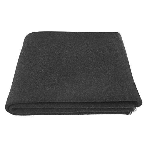 """EKTOS 100% Wool Blanket, Charcoal Grey, Warm & Heavy 4.4 lbs, Large Washable 66""""x90"""" Size, Perfect for Outdoor Camping, Survival & Emergency Preparedness Use"""