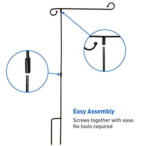 EasyGo Garden & Yard Flag Stand - Holds flags up to 12'' in width – Steel Black Garden Flag Pole Holder without Flag - 3 Pieces for Easy Storage by EasyGoProducts (Image #3)