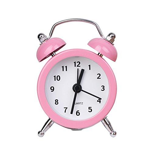 Price comparison product image Yeahii Portable Cute Mini Battery Round Alarm Clock Desktop Table Bedside Clocks Decor (Pink)