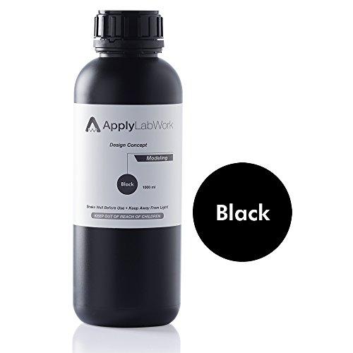 ApplyLabWork MD-R001BK Formlabs Compatible 3D Resin, Design Concept Series, Modeling SLA UV Printing Material, 1 Liter, Black
