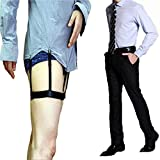 My type 1 Pair Unisex Adjustable Shirt Stays with Clip Non-slip Elastic Belts for Normal Clothes White-collar Suit Wrinkle Resistant Anti-slip Clamp Thigh Ring Garter (Black)