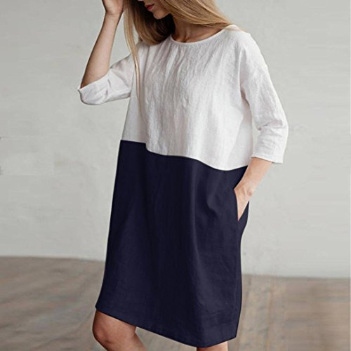 Patchwork Cotton Navy SERYU 2 Women with Tunic Dress Cotton 1 Linen Pockets Linen Casual Loose Sleeved Dress azwXTS
