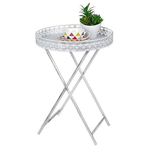 Mesa auxiliar Shabby Chic con bandeja, mesita para sofa en estilo antiguo, mesa de centro de metal con flores, color blanco