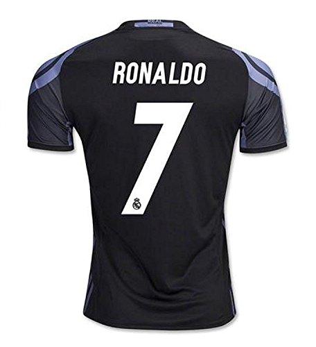 #7 Ronaldo Real Madrid Third Kid Soccer Jersey & Matching Shorts Set 2016-17,Black,Youth XS (5 to 6 Years Old)