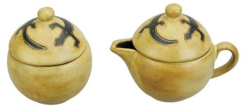 MARA STONEWARE COLLECTION - Collectible Creamer & Sugar Bowl - Mexican Pottery - Southwest Gecko Lizard