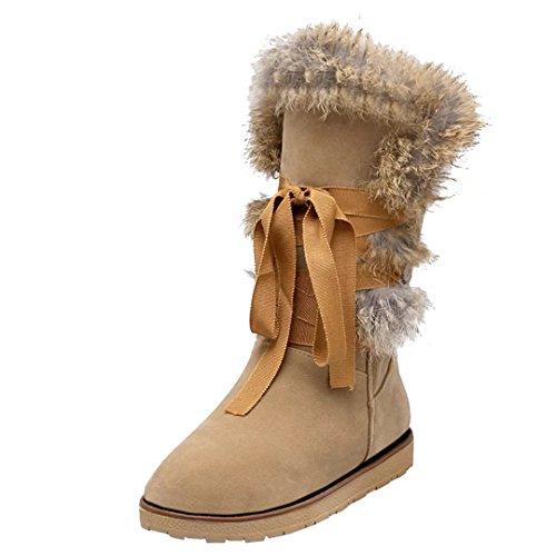 AIYOUMEI Damen Winter Flach Halb Stiefel mit Kunstfell und Schnürung Bequem Freizeit Mid Calf Boots Hhty1UXs