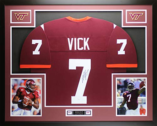 Michael Vick Autographed Maroon Virginia Tech Jersey - Beautifully Matted and Framed - Hand Signed By Michael Vick and Certified Authentic by JSA - Includes Certificate of Authenticity