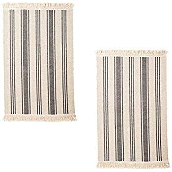 Amazon Com Flatwoven Cotton Area Rug With Color Stripes