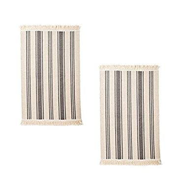 IKEA Flatwoven Cotton Area Rug with Color Stripes, Machine Washable for Kitchen Door Mat Runner (2, Gray Stripe)
