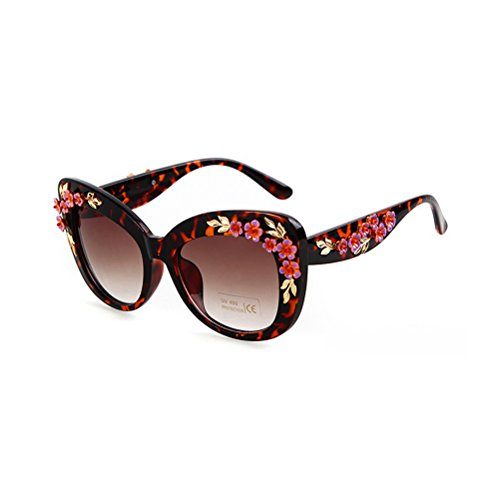 Guoxuan Women Sunglasses With Plactic Frame Butterfly Flower Debossed Oversized - Online Try Spectacles