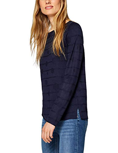 Esprit Women's Jumper with Prints Navy in Size XX-Large