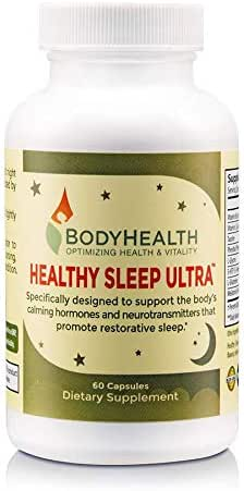 Healthy Sleep Ultra - Natural Sleep Aid w/Melatonin Stress Anxiety Relief Sleeping Pills for Adults & Kids, Supplement That Aids Insomnia & Enhance Mood Support, 60 Non Habit Forming Vegan Capsules