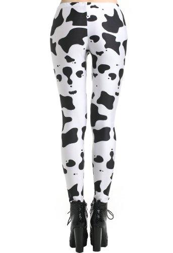 e776abcd8f11de Romwe Women's Diary Cow Print Contrast Color Dacron Leggings-White-M:  Amazon.co.uk: Clothing