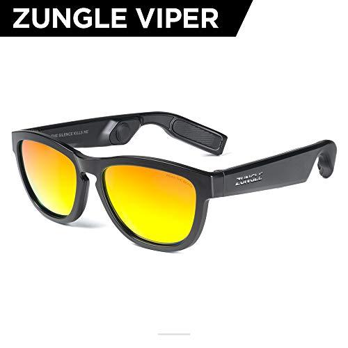ZUNGLE V2 Viper: Bluetooth Audio Sunglasses with Over Ear True Wireless Bone Conduction Headphones. for Men, Bluetooth 5.0, Built-in Mic, Music, Phone Call, AI Assistance(Matte Black Frames) ()