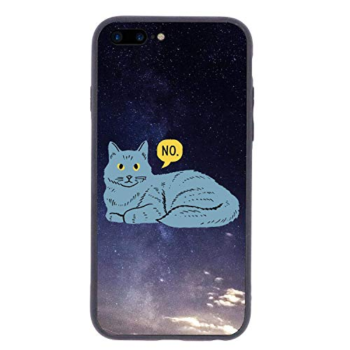 (CHUFZSD Tsundere Cat Say No iPhone 7/8 Plus Case Soft Flexible TPU Anti Scratch Shock-Proof Protective Shell Compatible Phone Case Cover (5.5)