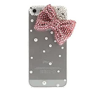 RC - Bowknot Style Rhinestone Transparent Hard Back Case for iPhone 5/5S(Assorted Color) , White